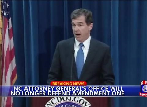 News video: North Carolina AG to Stop Defending Marriage Amendment